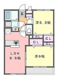 ミリアビタ響[3階]の間取り