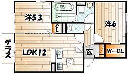福岡県遠賀郡水巻町杁2の賃貸アパートの間取り