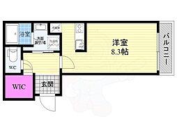京阪本線 藤森駅 徒歩8分の賃貸マンション 2階1Kの間取り