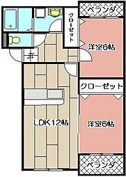 プレステージ加奈陀[102号室]の間取り