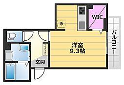 VILLA北花田 D-room 3階ワンルームの間取り