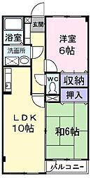 東京都羽村市緑ヶ丘2丁目の賃貸マンションの間取り