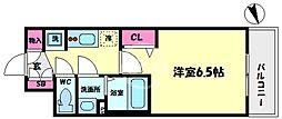 プレサンスOSAKA DOMECITYスクエア 4階1Kの間取り