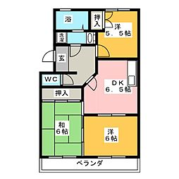愛知県豊川市御油町西沢の賃貸マンションの間取り