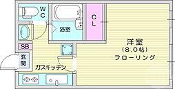 相澤ビル 3階1Kの間取り