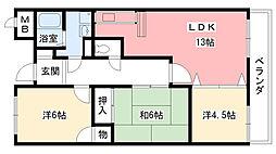 兵庫県西宮市伏原町の賃貸マンションの間取り