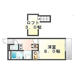 広島県福山市新涯町2丁目の賃貸アパートの間取り