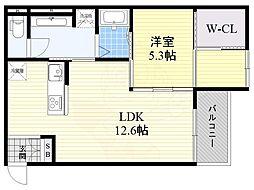 Osaka Metro谷町線 関目高殿駅 徒歩15分の賃貸アパート 3階1LDKの間取り