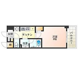 Osaka Metro谷町線 文の里駅 徒歩1分の賃貸マンション 8階1Kの間取り