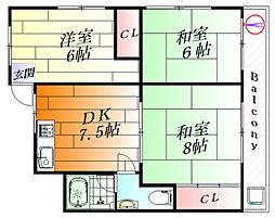 大阪府茨木市蔵垣内2丁目の賃貸マンションの間取り