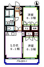 東京都東久留米市浅間町3丁目の賃貸マンションの間取り