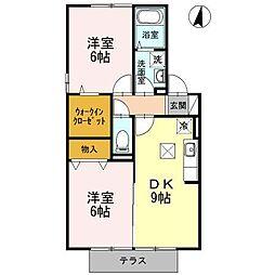 ウィステリア B棟[1階]の間取り