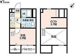 愛知県名古屋市緑区鳴海町字丸内の賃貸アパートの間取り