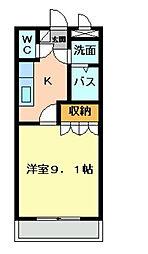 福岡県北九州市八幡西区本城学研台1の賃貸アパートの間取り
