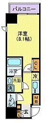 LEXE秋葉原East 8階1Kの間取り