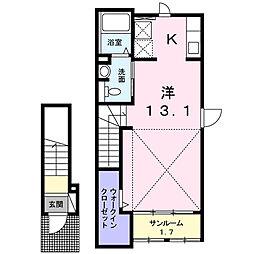 神奈川県海老名市門沢橋4丁目の賃貸アパートの間取り