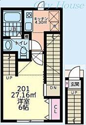 森のルピナスハイム 2階1Kの間取り