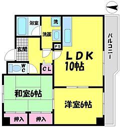 ビアンカ諸口 3階2LDKの間取り
