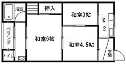 藤荘東棟[201号室]の間取り