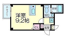 京都市営烏丸線 四条駅 徒歩9分の賃貸マンション 3階1Kの間取り