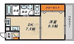 Osaka Metro長堀鶴見緑地線 蒲生四丁目駅 徒歩4分の賃貸マンション 3階1DKの間取り