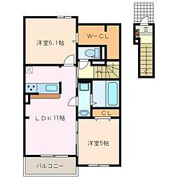 三重県松阪市西之庄町の賃貸アパートの間取り