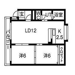 北海道札幌市北区新琴似9条1丁目の賃貸マンションの間取り