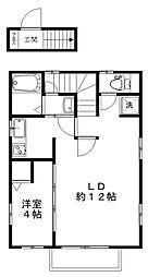 西武新宿線 小平駅 徒歩21分の賃貸タウンハウス 2階1LDKの間取り
