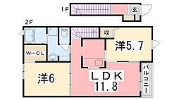 兵庫県明石市大久保町江井ヶ島の賃貸アパートの間取り