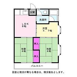 永岡アパート[202号室]の間取り