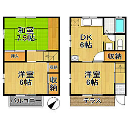 [テラスハウス] 千葉県流山市美田 の賃貸【/】の間取り