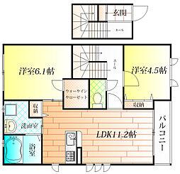 大阪府羽曳野市高鷲6丁目の賃貸アパートの間取り