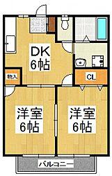 リルアークB[2階]の間取り