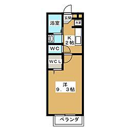 京都府京都市伏見区深草綿森町の賃貸アパートの間取り