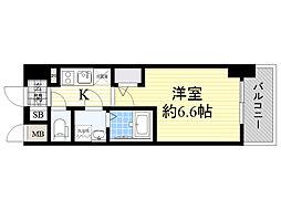 エスリード大阪梅田WEST 11階1Kの間取り