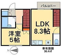 東武伊勢崎線 五反野駅 徒歩8分の賃貸マンション 1階1LDKの間取り