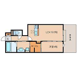 JR関西本線 王寺駅 バス13分 上牧文化センター前下車 徒歩3分の賃貸アパート 1階1LDKの間取り