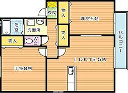 ルクレールやつえ A棟[2階]の間取り