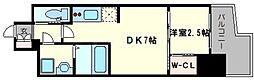 レジデンス難波南 11階1DKの間取り