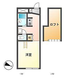 愛知県名古屋市港区寛政町1丁目の賃貸アパートの間取り