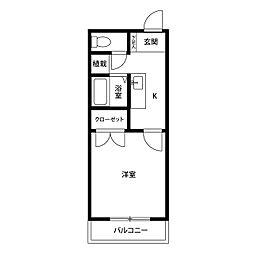 愛知県名古屋市天白区境根町の賃貸アパートの間取り