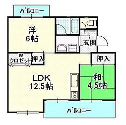 福岡県福岡市早良区原2丁目の賃貸マンションの間取り