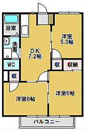 ラ・フォーレ西条 A棟[2階]の間取り