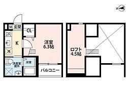 名古屋市営東山線 岩塚駅 徒歩6分の賃貸アパート 2階1SKの間取り