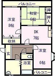 佐賀県唐津市和多田本村の賃貸マンションの間取り