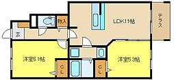 兵庫県姫路市飾磨区加茂北の賃貸アパートの間取り