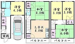 [一戸建] 大阪府東大阪市角田3丁目 の賃貸【/】の間取り