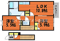 JR宇野線 早島駅 徒歩5分の賃貸アパート 2階2LDKの間取り