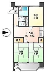 愛知県名古屋市北区真畔町の賃貸マンションの間取り
