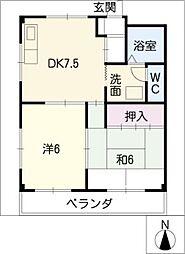 レインボー桜井[2階]の間取り